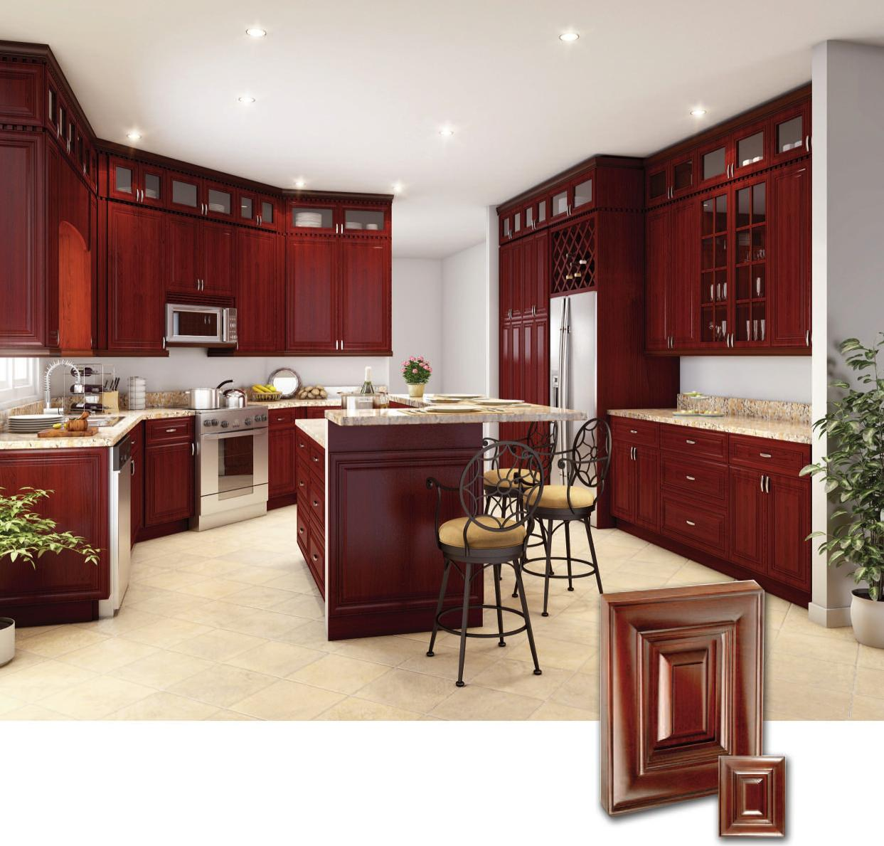 AD RTA Lexington Solid Wood Kitchen Cabinet, Alder wood, Cherry finish,dovetail drawers, full extension soft close drawer glides.
