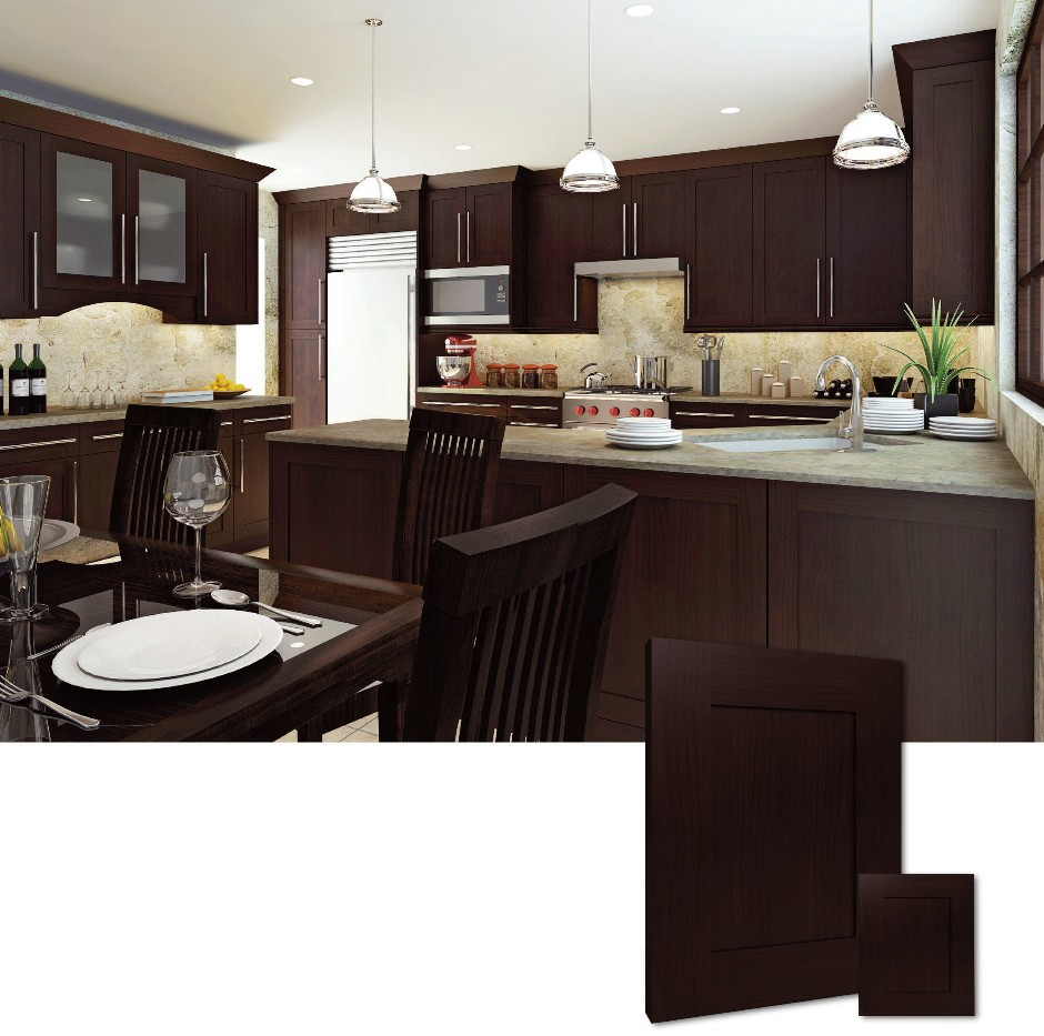style RTA Kitchen Cabinet, all wood, Wood Alder, Finish Espresso