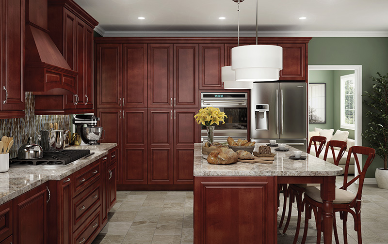 Princeton cabernet all wood cabinets for Extreme kitchen designs