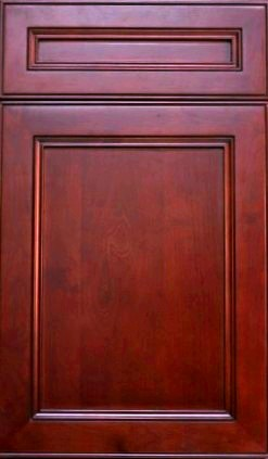 York Cherry Shaker, full overlay, maple with cherry finish dark glaze in detail, recessed center panel, dovetail drawers, full extension soft close drawer glides