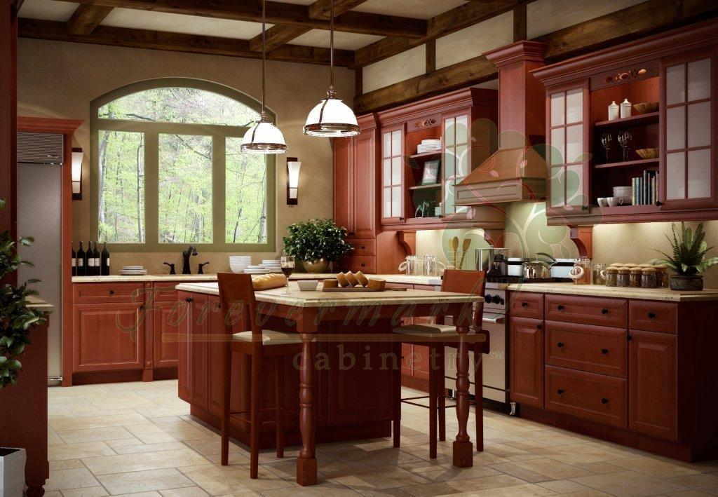 Kava Cinnamon RTA Kitchen Cabinets with dovetail drawers, full overlay.