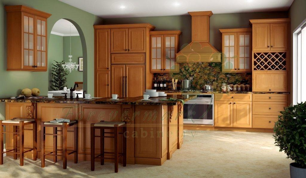 Modena Honey Shakertown RTA Kitchen Cabinets with dovetail drawers.