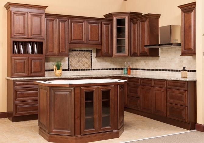 Charleston Antique White RTA Kitchen Cabinets Charleston Saddle Brown RTA Kitchen  Cabinets ...