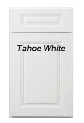 Tahoe White RTA cabinets with raised center panel