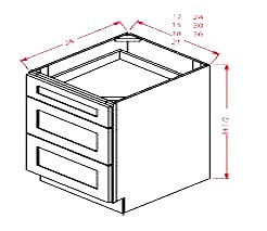 Shaker White Drawer Base Cabinet DB24 WS