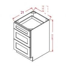 U.S. Shaker White Vanity Drawer Base 3VDB15