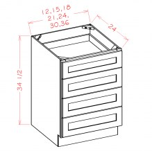 U.S. Shaker White Four Drawer Base 4DB15