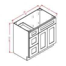 Ready to assemble vanity cabinet with drawers