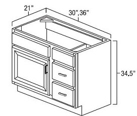 Rta Bathroom Vanity Unit Sink Drawer Base Unit 30 Width 21 Depth 34 1 2 Height 1 Door 2 Drawers The Door Is 17 9 16w X 22 7 8 H