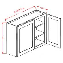 Shaker Cinder Wall Cabinet for Glass Door W2436GD