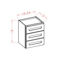 Shaker Cinder Wall Three Drawer Cabinet W3D24