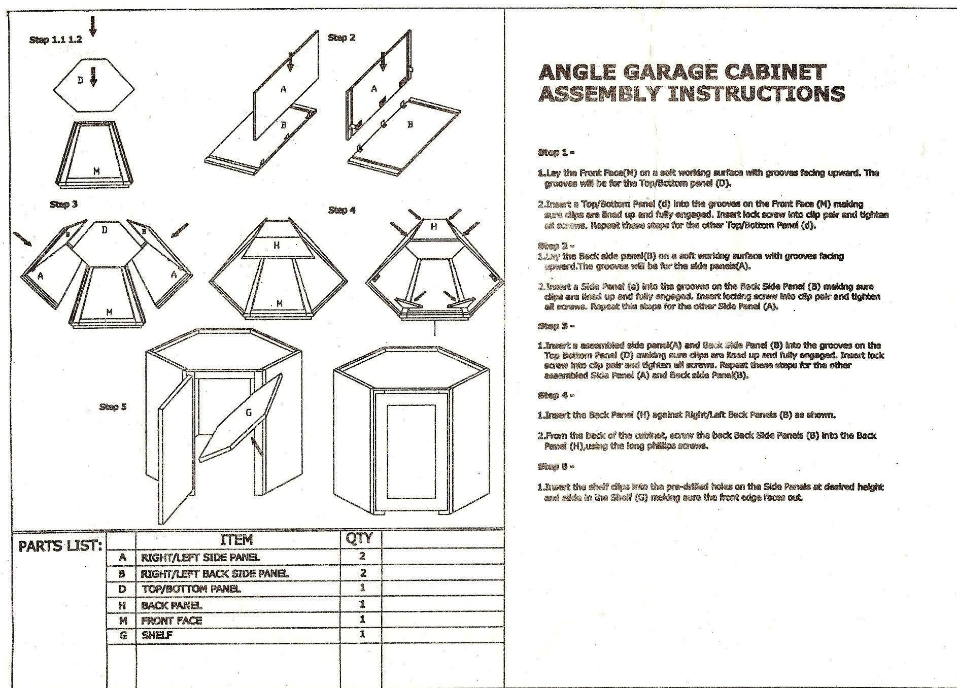 RTA Appliance Garage Assembly instruction