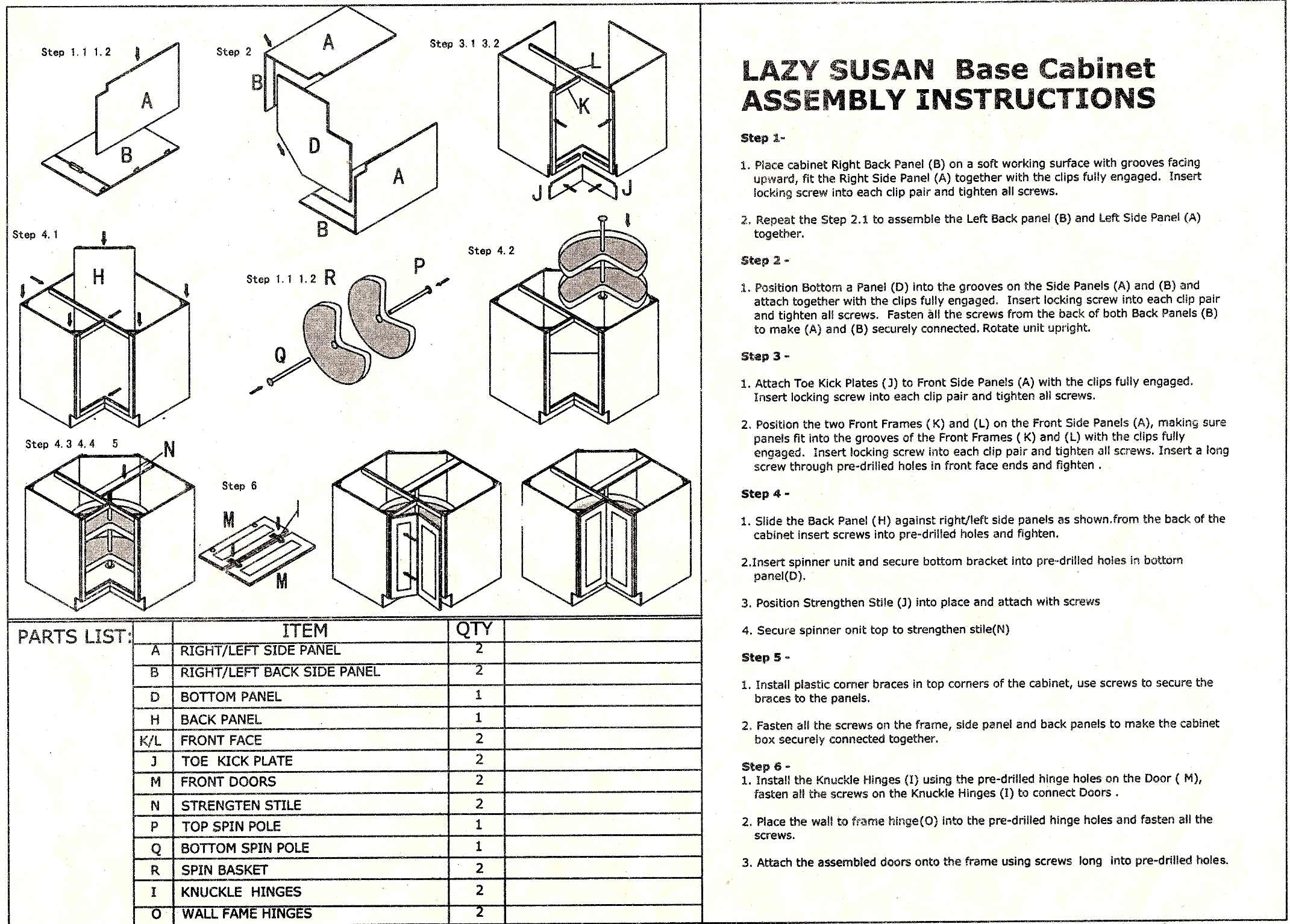 RTA Lazy susan assembly instruction