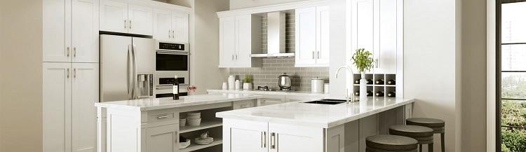 Pearl White frameless rta cabinets