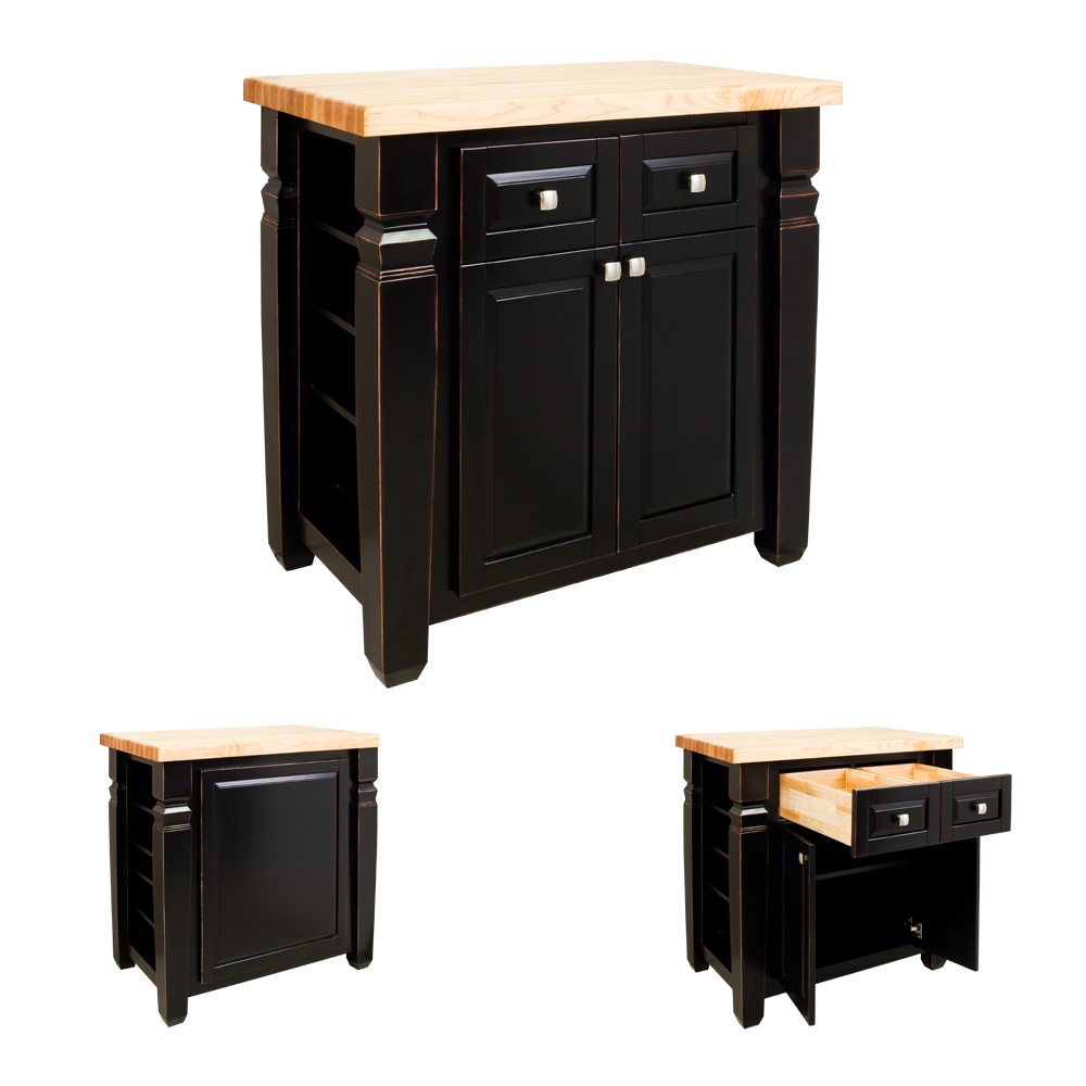 Kitchen island small black loft ils12 agb for Small kitchen large island
