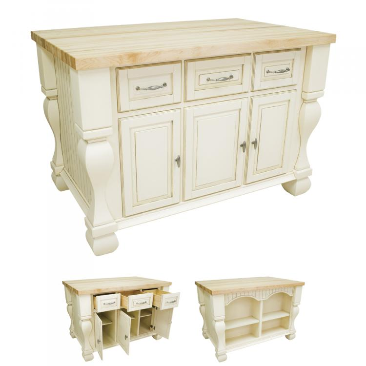 Kitchen Island Tuscan Distressed White ISL01-AWH 1