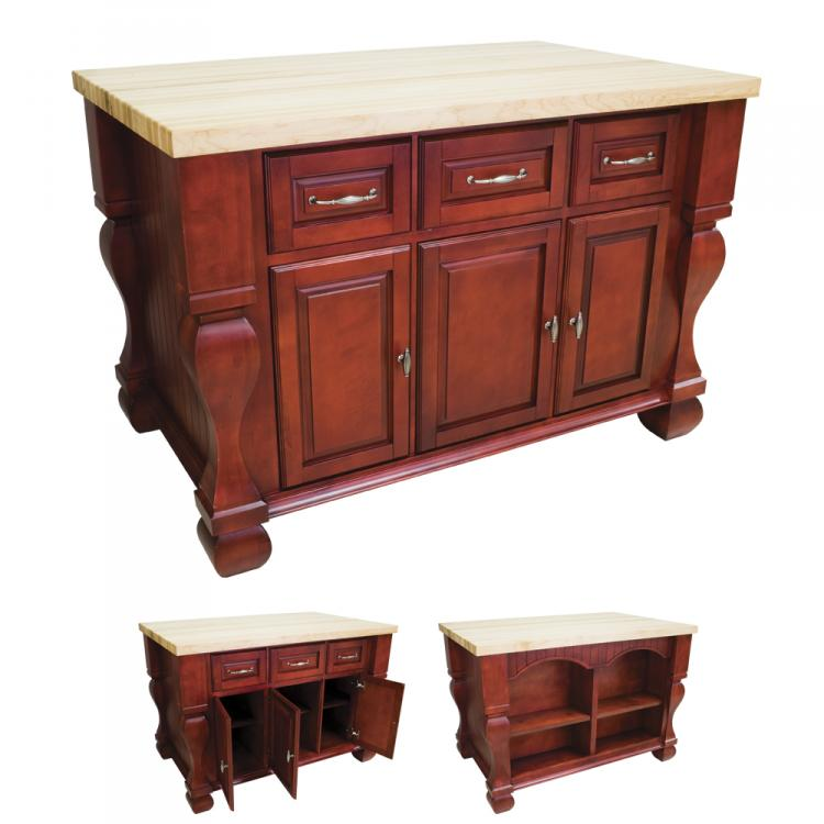 Kitchen Island Tuscan Dark Red ISL01-RED 1