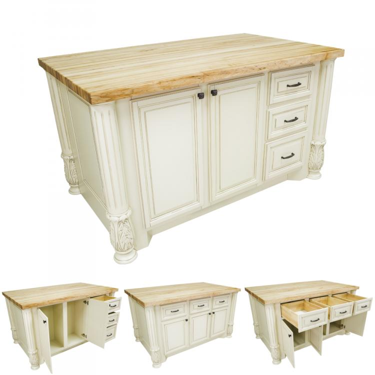 Kitchen Island Distressed White Milanese ISL05-AWH