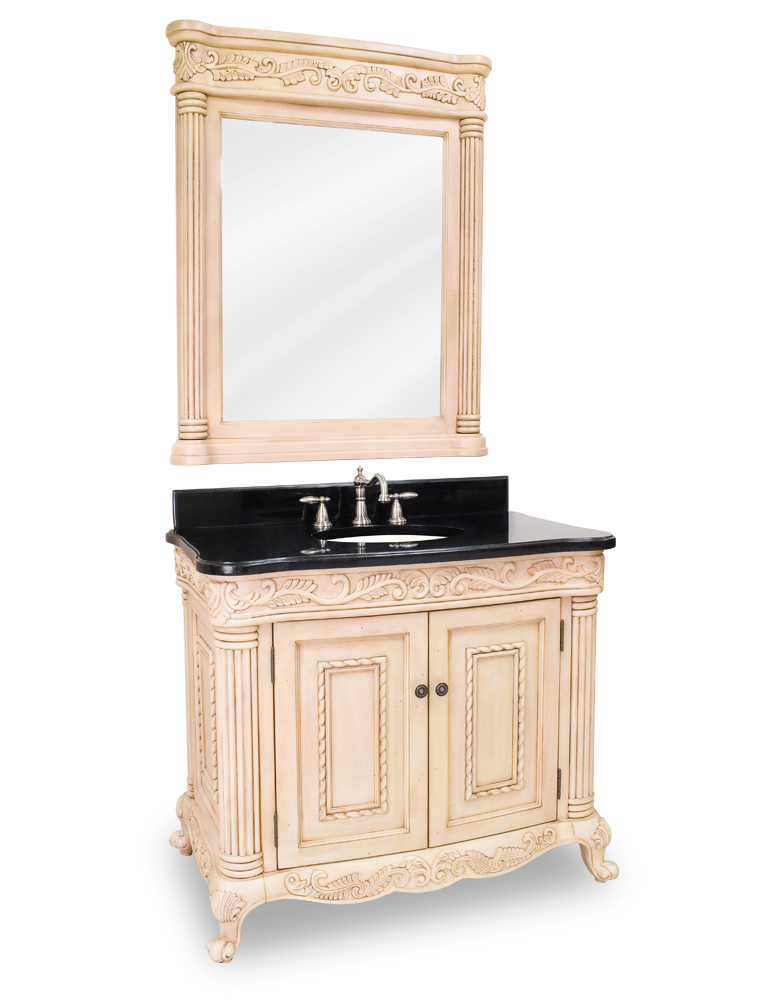 Lyn Design Antique White Ornate Bath Vanity Set Van011t